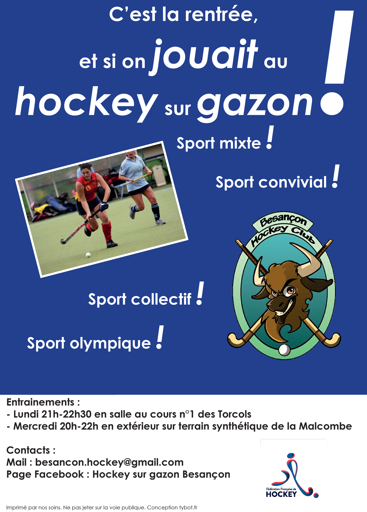 2015-09 - Affiche rentree Hockey sur gazon Besancon